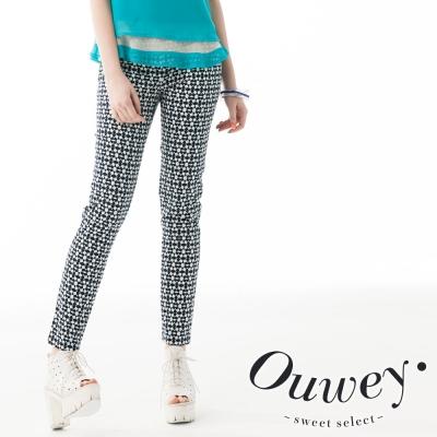 OUWEY歐薇-幾何數位印花長褲