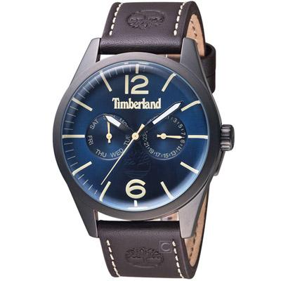 Timberland 城市穿越時尚腕錶-藍x深咖色錶帶/44mm