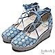 DIANA 夢幻狂想曲--花漾率性丹寧交叉綁帶楔型鞋-藍 product thumbnail 1