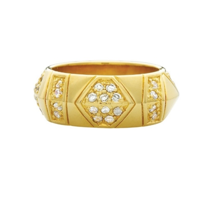 House of Harlow 1960 鑲鑽復古刻紋 金色 寬版戒指 附原廠包裝