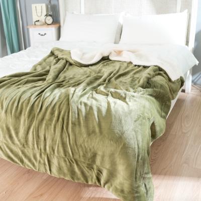 eyah宜雅 北歐時尚雙面加厚法蘭絨羊羔絨毯 橄欖綠