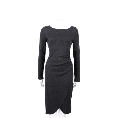 MICHAEL KORS 深灰色抓皺交叉設計長袖洋裝(30%WOOL)
