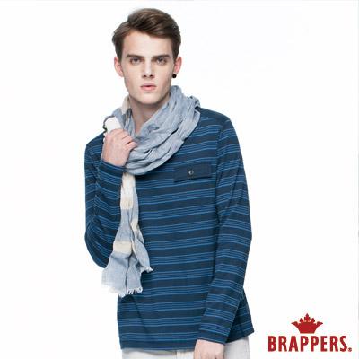 BRAPPERS 男款 男用條紋肩剪接口袋長袖上衣-深藍