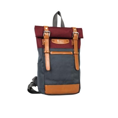 estilo - 時尚玩色系列 撞色設計 單/雙肩兩用包 - 酒紅