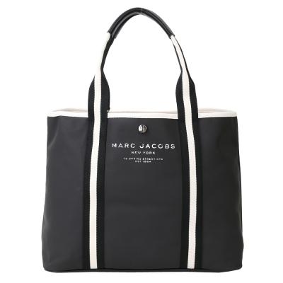 MARC JACOBS 黑白織帶膠質帆布托特包(黑色)