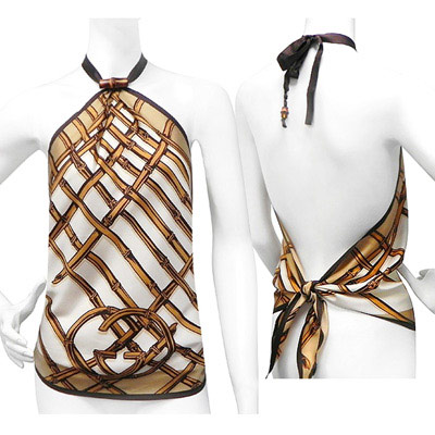 GUCCI 竹節圖樣綁帶純絲上衣(咖啡色)