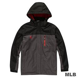 MLB-紐約洋基隊連帽長版合身風衣外套-深灰(男)