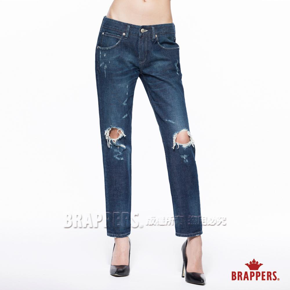 BRAPPERS 女款 BoyFriend系列-女用中低腰彈性八分反折褲-深藍