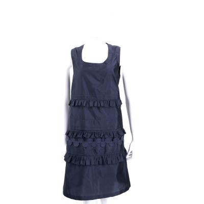 Max Mara-SHINE 深藍色拼接花飾方領無袖洋裝