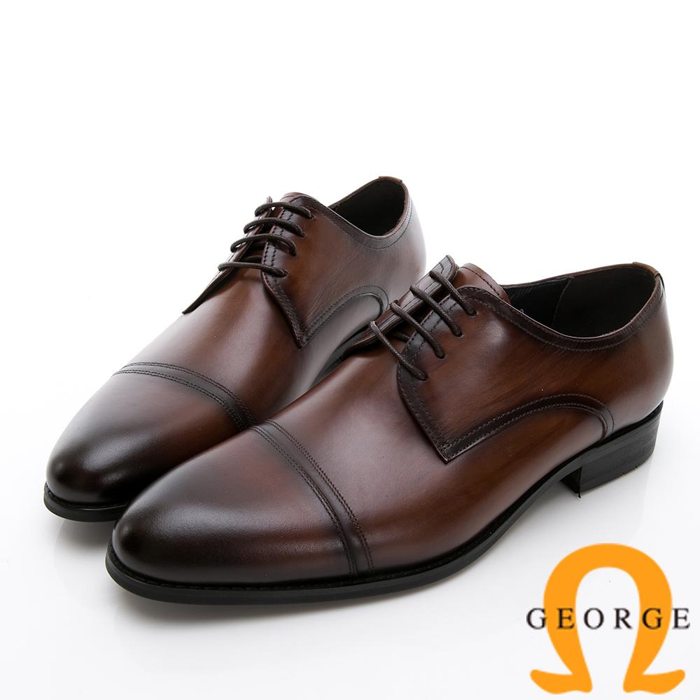 GEORGE 喬治-商務系列 真皮手工縫線紳士皮鞋-咖