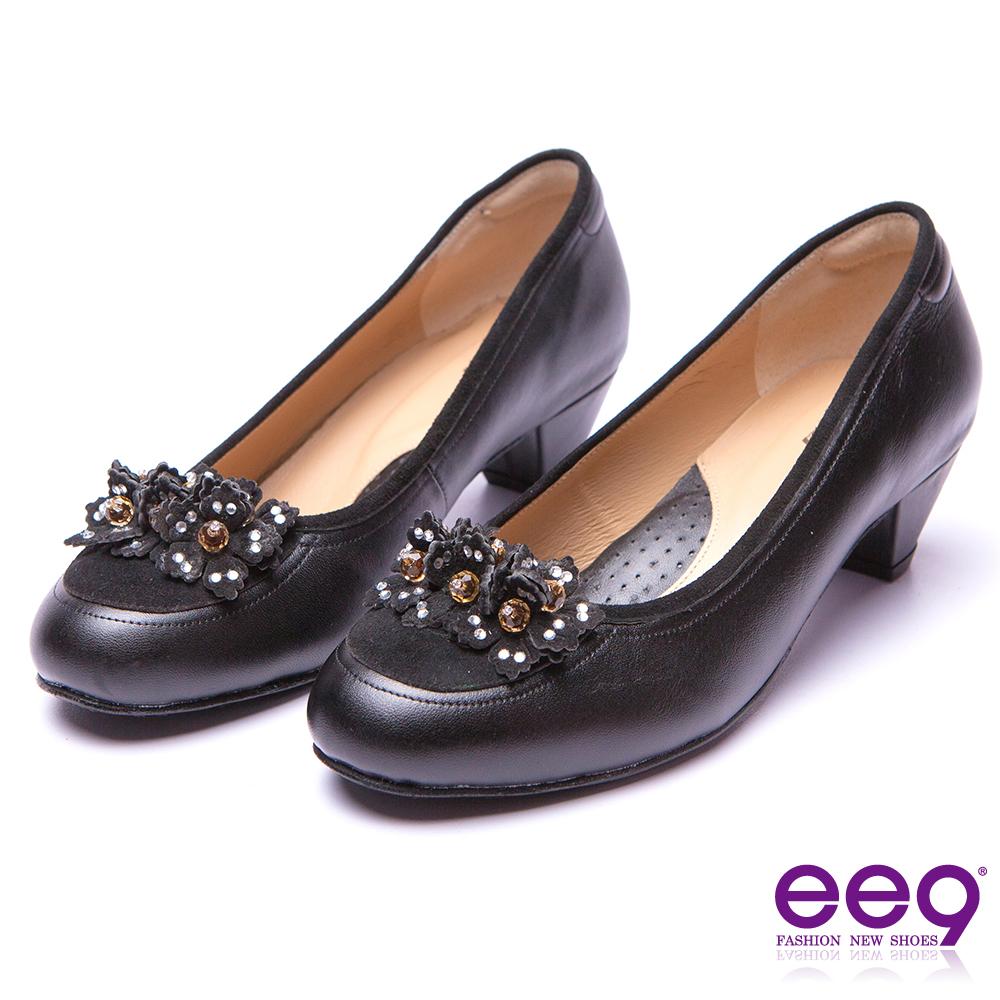 【ee9】經典手工-都會優雅異材質併接鑽飾造型花朵跟鞋*黑色