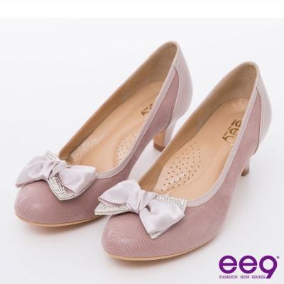 ee9璀璨迷人~全真皮璀璨迷人低調奢華亮鑽蝴蝶結跟鞋~香檳粉