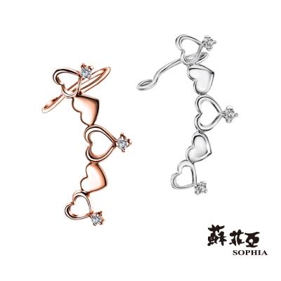 蘇菲亞SOPHIA 日本輕珠寶-Sweet Heart系列單邊鑽石耳環(共2色)