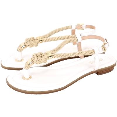 Michael Kors 麻編繩結設計夾腳涼鞋(白色)