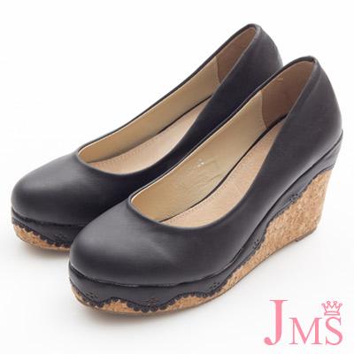 JMS-典雅素面花滾邊楔型娃娃鞋-黑色