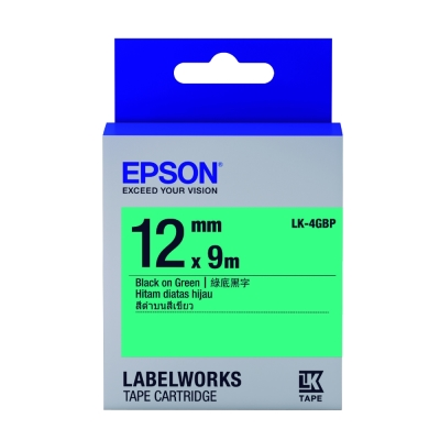 EPSON C53S654405 LK-4GBP粉彩系列綠底黑字標籤帶(寬度12mm)