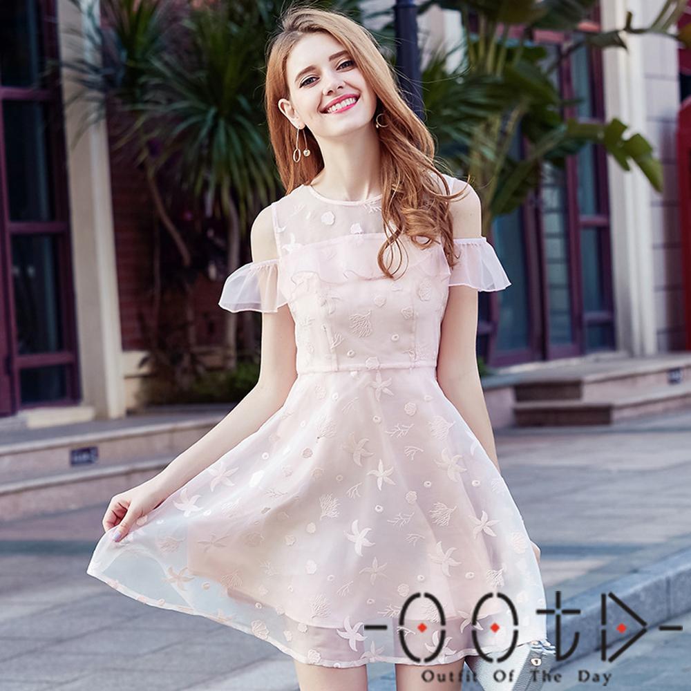 透膚圓領歐根紗繡花蓬蓬裙短袖洋裝 (粉色)-OOTD