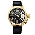 Kappa 獨特重金屬經典時尚腕錶-黑x金/49mm