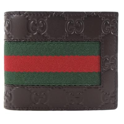 GUCCI GG牛皮壓紋紅綠織帶對開男短夾(咖/8卡)