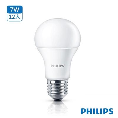飛利浦 Philips LED燈泡 7W 白光 全電壓(12入)