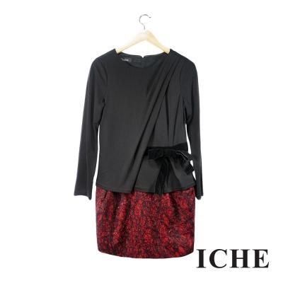ICHE衣哲 假兩件拼接蕾絲紅長袖洋裝