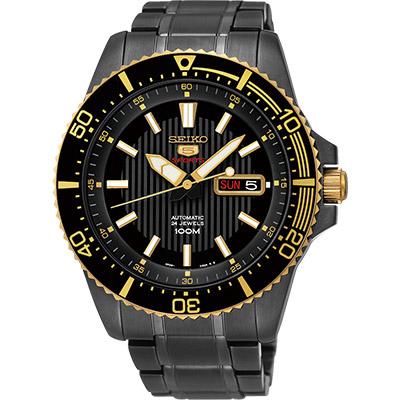 SEIKO 精工5號盾牌24石機械腕錶(SRP558J1)-IP黑/43mm