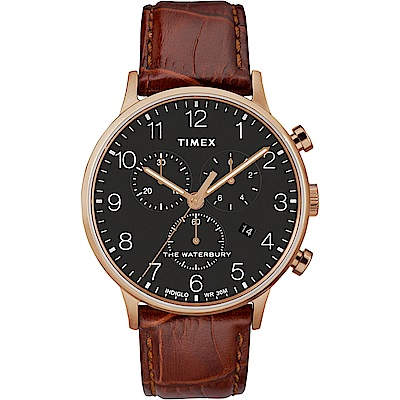 TIMEX 天美時 Waterbury系列 經典簡約三眼計時手錶-黑/咖啡色/40mm