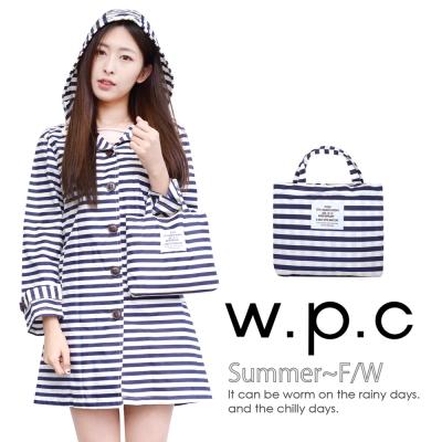 【w.p.c.】條紋扣子款。時尚雨衣/風衣(R1028)_藍白條紋