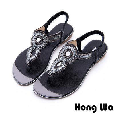 Hong Wa - 埃及風時尚3D水鑽飾釦休閒涼鞋 - 黑
