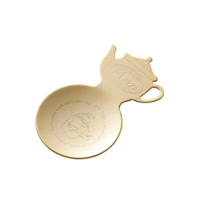 18-8不鏽鋼-茶壺造型小碟子-金色