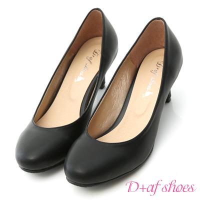 D+AF 百搭單品‧MIT素面圓頭5.5cm中跟鞋*黑