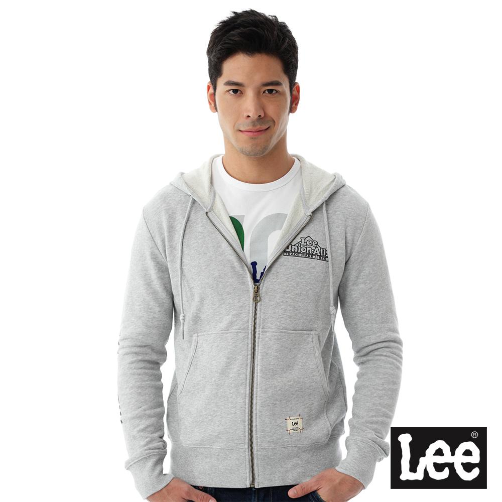 Lee 連帽外套 毛巾內裡連帽拉鍊-男款(麻花灰)
