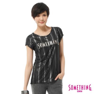 SOMETHING-T恤-銀蔥優雅燙箔圓領T-女-黑色
