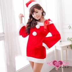 聖誕服 愛在聖誕 耶誕舞會角色扮演表演服(紅F) AngelHoney天使霓裳