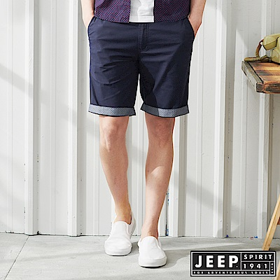 JEEP 反摺造型素面休閒短褲-深藍