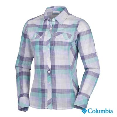 【美國Columbia哥倫比亞】長袖襯衫-女-藍格紋(UAL79900VP)
