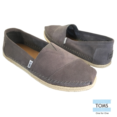 TOMS 麂皮粗縫線懶人鞋-男款(深灰)