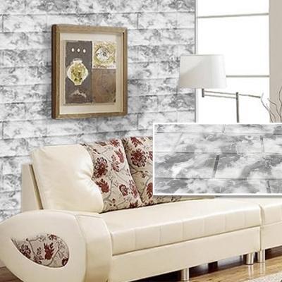 韓國3D立體DIY仿磚紋壁貼/仿文化石壁貼_長條3片(雲彩灰)