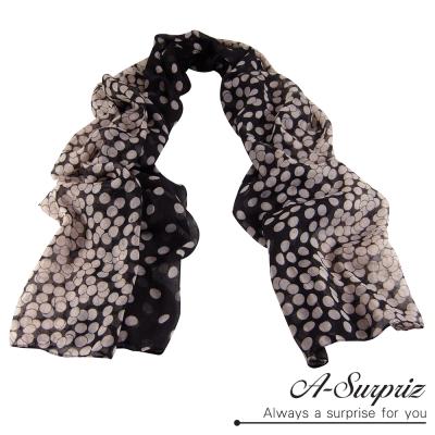 A-Surpriz 優雅點點加大巴黎紗圍巾(米黑系)