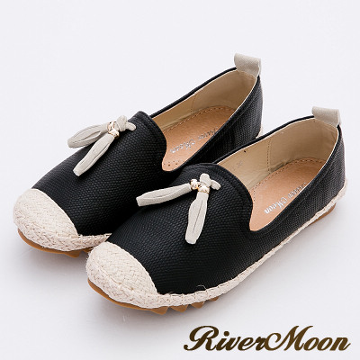 River&Moon樂福鞋-韓版撞色流蘇真皮麻編Q軟懶人便鞋-黑系