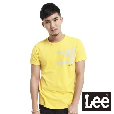 Lee-短袖T恤-植絨文字印刷-男款-黃