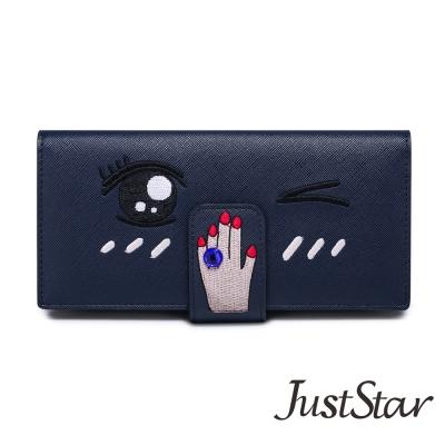 Just-Star-萌眼手指藍寶石長夾-深藏藍