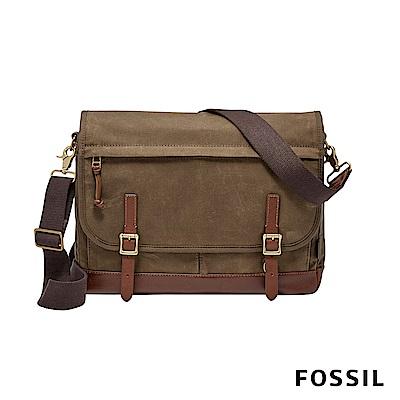 FOSSIL DEFENDER 信差商務側背包帆布款-咖啡色