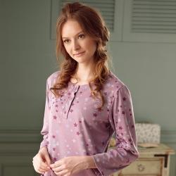 羅絲美睡衣 -滿天繁星長袖洋裝睡衣 (繽紛紫)