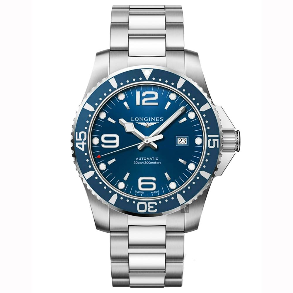 LONGINES浪琴 Conquest 系列潛水機械錶-藍x銀/44mm