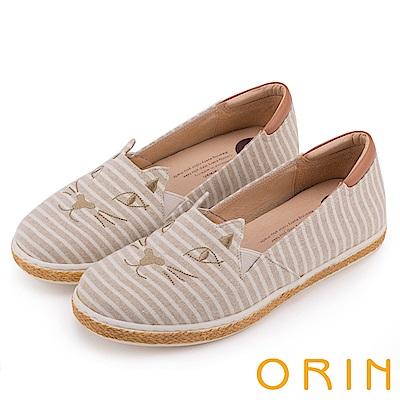 ORIN 俏麗女孩 趣味貓咪甜美平底便鞋-條紋米