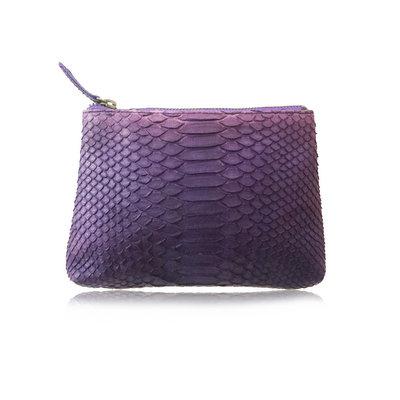 ACUBY 限量單品手工蛇皮手拿包/藍莓紫