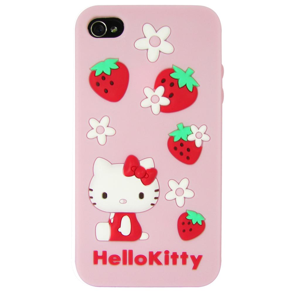 Gourmandise iPhone 4/4S Kitty 立體草莓花瓣保護套