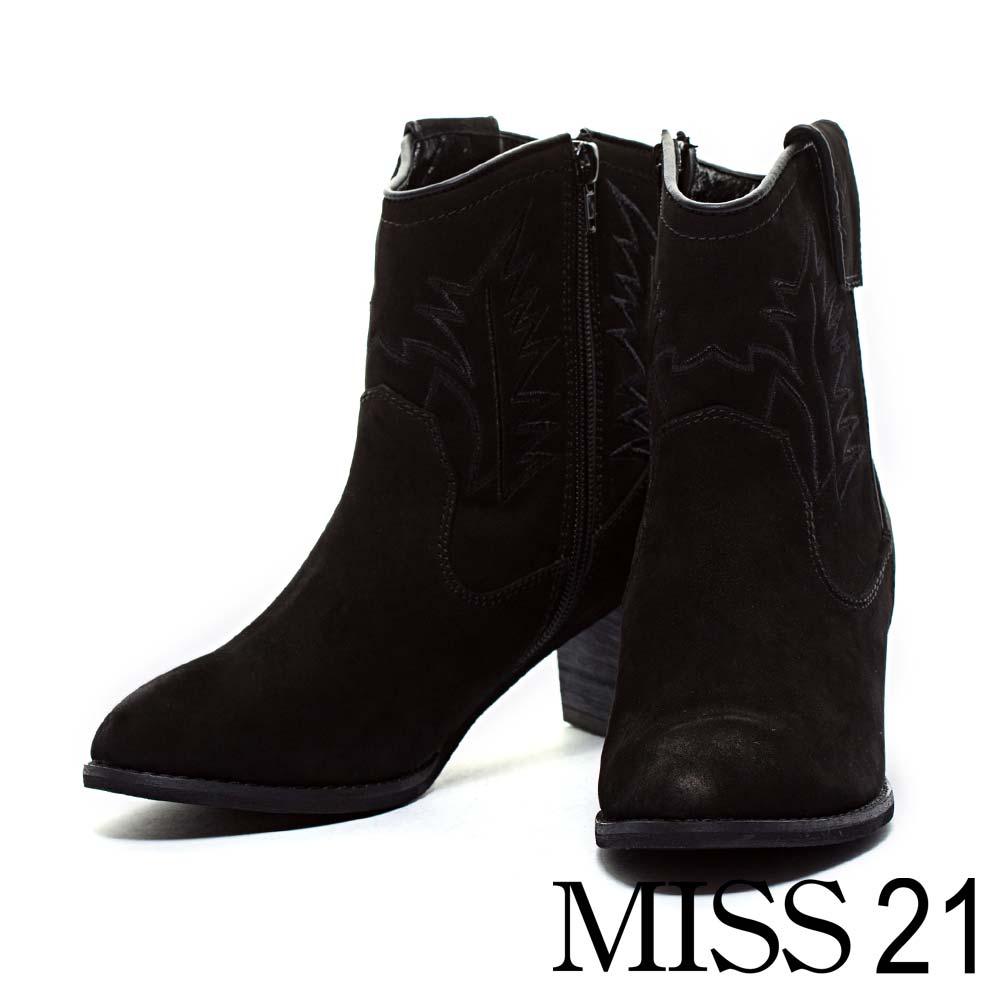 踝靴 MISS 21 西部牛仔刺繡粗跟踝靴-黑