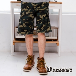 Dreamming 韓系街頭迷彩多口袋伸縮休閒短褲-綠色